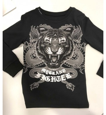 My Brand longsleeve shirt tiger fighter dragon in de kleur zwart