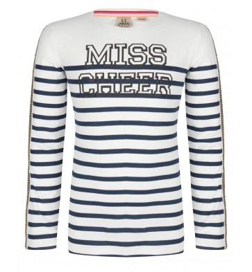 Indian blue jeans gestreept shirt 'Miss Cheer' in de kleur wit/blauw