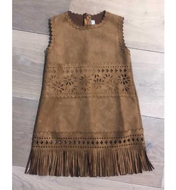 Smile today jurk met franje in suede look in de kleur cognac bruin