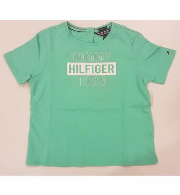 Tommy Hilfiger t-shirt met witte tekst in de kleur mintgroen