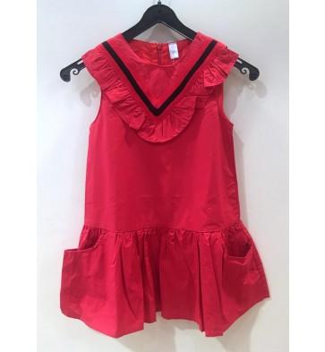 Smile today jurk met roezels in de kleur rood