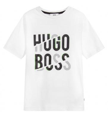 Hugo Boss t-shirt met zwart/grijs logo in de kleur wit