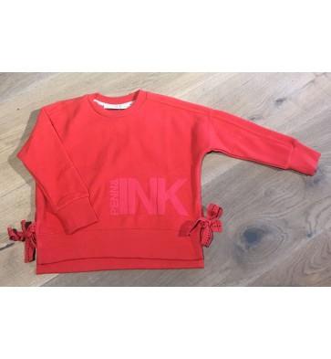 Penn & Ink zachte sweater trui met strikken aan de zijkant in de kleur rood