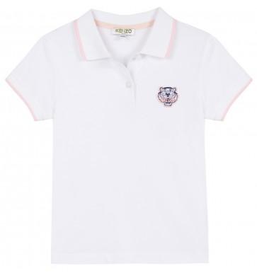 Kenzo kids girls polo shirt met tijgerkop logo in de kleur wit/roze