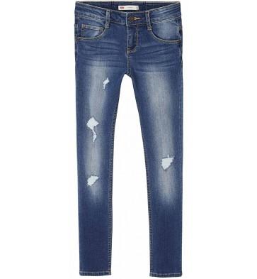 Levi's kids girls denim broek skinny fit ripped jeans in de kleur jeansblauw