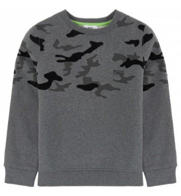 Hugo Boss trui met legerprint en logo in de kleur grijs