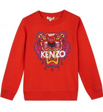 Kenzo kids sweater trui met tijgerkop in de kleur oranje