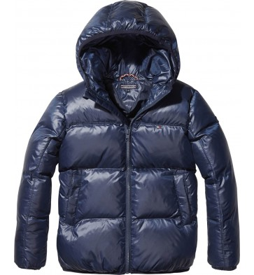 Tommy Hilfiger kids padded flag jacket winterjas in de kleur donkerblauw