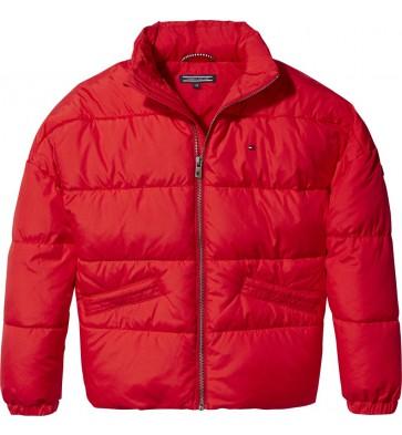 Tommy Hilfiger kids girls winterjas padded jacket in de kleur rood