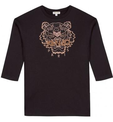 Kenzo kids girls sweatdress jurk met tijgerkop in de kleur zwart