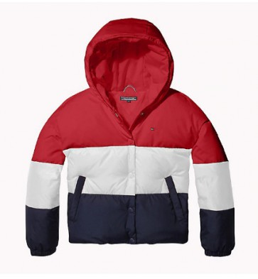 Tommy Hilfiger kids girls color block winterjas in de kleur blauw/rood