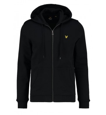 Lyle and scott capuchon vest hoodie in de kleur true black zwart