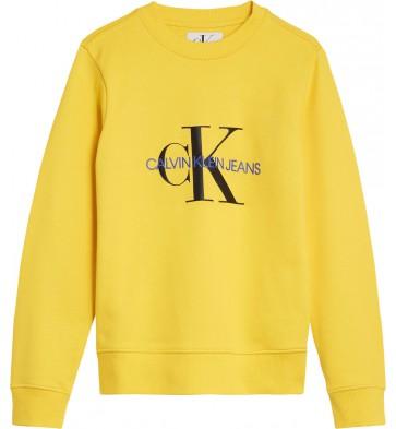 Calvin Klein kids boys sweater trui met logo print in de kleur lemon geel