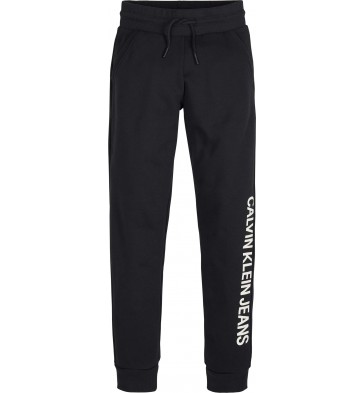 Calvin Klein kids boys cotton terry sweatpants in de kleur zwart