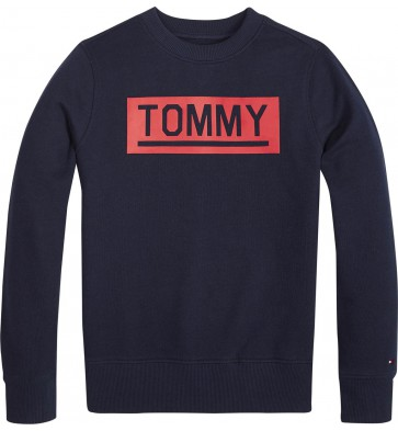 Tommy Hilfiger sweater trui met logo print in de kleur donkerblauw