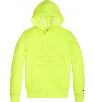 Tommy Hilfiger sweater trui met logo print in de kleur safety yellow geel