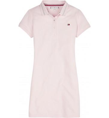 Tommy Hilfiger kids girls polo dress jurk in de kleur zachtroze