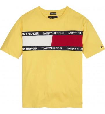 Tommy Hilfiger t-shirt met logo in de kleur geel