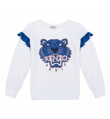 Kenzo kids girls sweater tiger met blauwe roezels in de kleur wit
