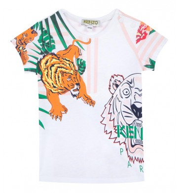 Kenzo kids girls hawaii all over print shirt in de kleur multicolor