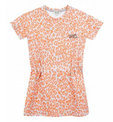 Kenzo kids girls jurk met panterprint in de kleur oranje