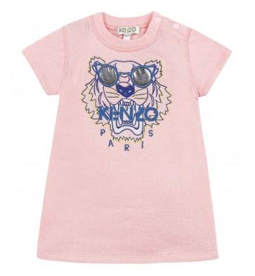 Kenzo kids sweatdress jurk met tiger kop in de kleur roze