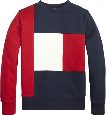 Tommy Hilfiger kids boys colorblock sweater trui in de kleur blauw/rood