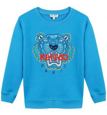 Kenzo kids sweater trui met tijgerkop in de kleur kobalt blauw