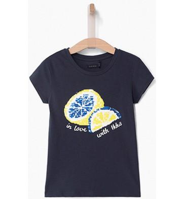 IKKS kids 'wrijf'shirt met citroenen in de kleur donkerblauw