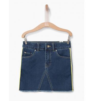 IKKS kids denim rok met streep en citroen in de kleur jeansblauw