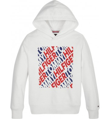Tommy Hilfiger sweater trui fashion graphic hoodie in de kleur wit