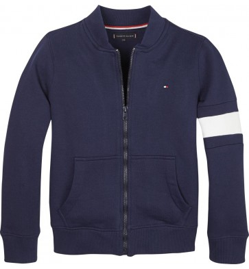 Tommy Hilfiger kids boys sweatvest flag tracktop in de kleur blauw