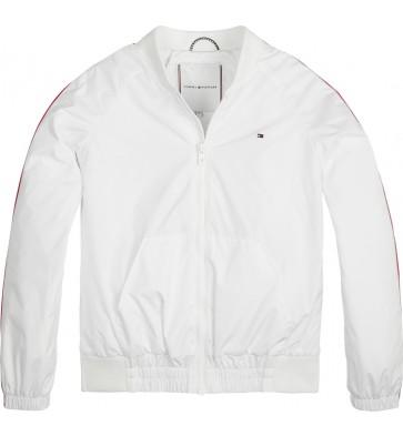 Tommy Hilfiger kids essential branded tape zomer jas in de kleur wit