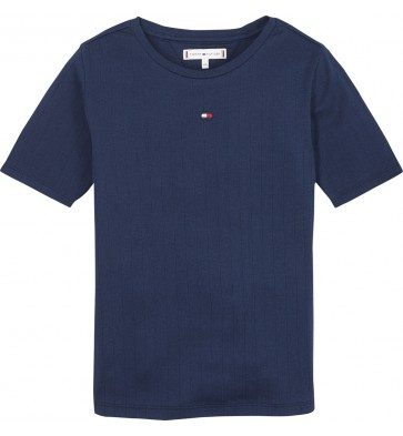 Tommy Hilfiger solid wide rib shirt in de kleur donkerblauw