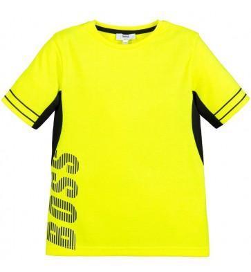 Hugo Boss kids t-shirt met zwarte logoprint in de kleur 'safety' geel