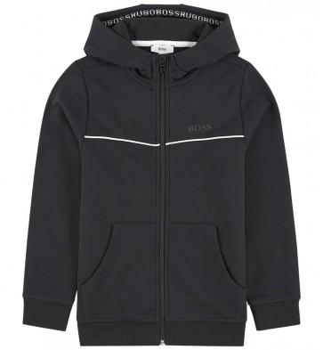 Hugo Boss kids hoodie vest in de kleur zwart