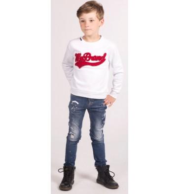 My Brand Junior sweater trui met rood logo in de kleur wit