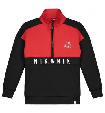 NIK en NIK Caleb sweater trui met rits in de kleuren rood/zwart