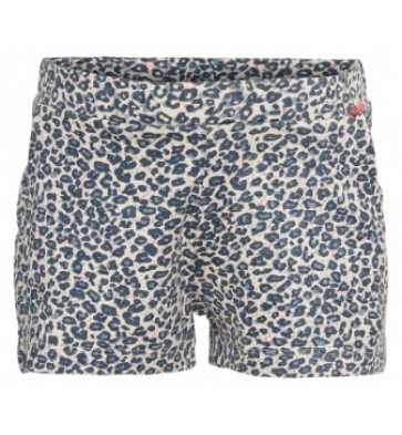 Le Big korte broek sweat short met panterprint in de kleur lichtblauw