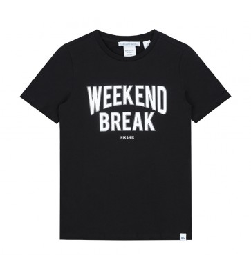 Nik en Nik weekend t-shirt weekend break in de kleur black zwart