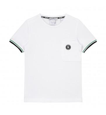Nik en Nik pique macon t-shirt met groene bies in de kleur wit