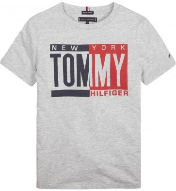 Tommy Hilfiger boys t-shirt met logo in de kleur grijs
