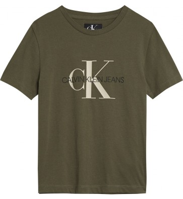 Calvin Klein jeans boys t-shirt monogram in de kleur grape leaf groen