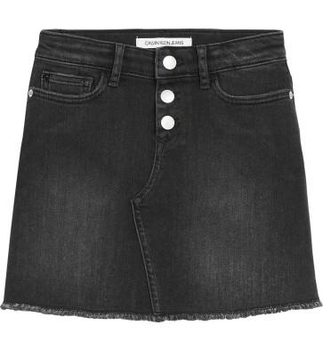 Calvin Klein jeans rok met knopen A-line skirt in de kleur worn black stretch zwart