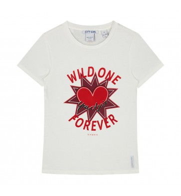 Nik en Nik t-shirt wild one forever met rood hart in de kleur off white