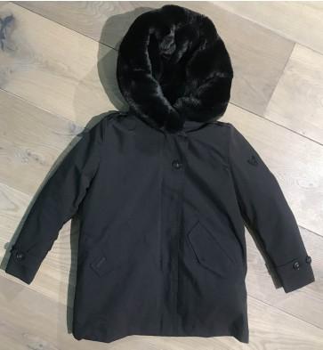 Airforce winterjas soft shell teddy parka in de kleur zwart