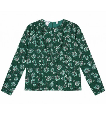 Nik en Nik girls blouse Obby flower top in de kleur dark green groen