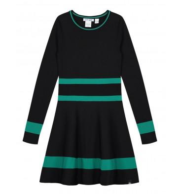 Nik en Nik girls jurk Belia dress met strepen in de kleur zwart/groen