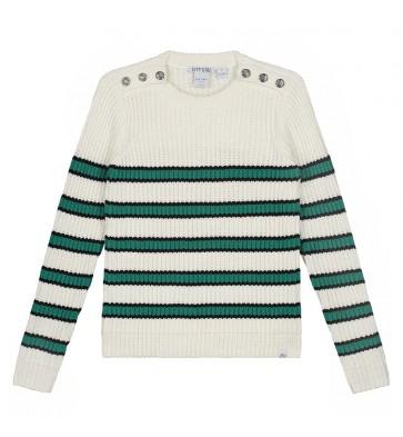 Nik en Nik girls Riska pullover gebreide trui met strepen in de kleur off white