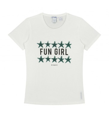 Nik en Nik girls Fun girl t-shirt sterren in de kleur off white/groen
